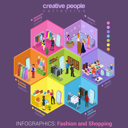 Flat 3d isometric fashion shopping mall cell abstract interior room customers clients buyers workers staff concept vector. Creative business people in cells collection.