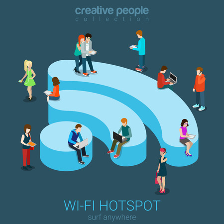 Public free Wi-Fi hotspot zone wireless connection flat 3d isometric web banner template. Creative people surfing internet on WiFi shaped podium. Technology globalization and reachability.