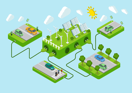 Ilustración de Electric cars flat 3d web isometric alternative eco green energy lifestyle infographic concept vector. Road platforms, sun battery, wind turbine, power cords. Ecology power consumption collection. - Imagen libre de derechos