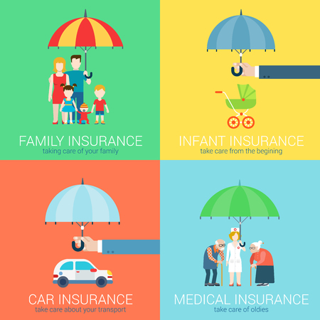 4-in-1 insurance business modern flat set of concept vector illustration icons. Family life, baby infant children, car vehicle transport, health medical oldies senility care policy.