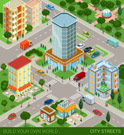 City block streets transport inhabitants concept. Modern trendy flat 3d isometric infographic. Street buildings cars vans ice cream cafe restaurant business centre park. Creative people collection.