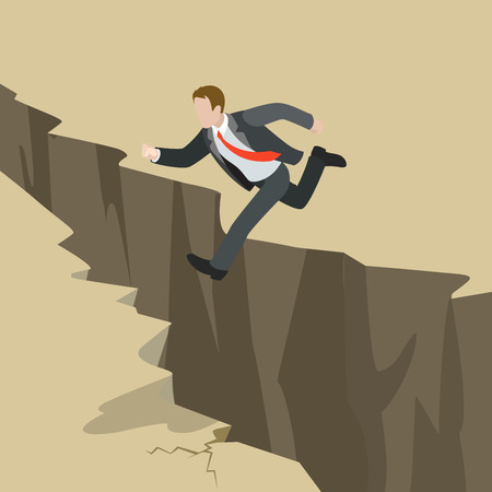 Avoid business problem trouble overcome obstacle crisis risk concept flat 3d web isometric infographic vector. Businessman jump over earth ground crack rift. Creative people collection.