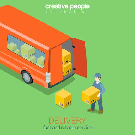 Illustration pour Delivery service van flat 3d web isometric infographic concept vector. Courier holds box before deliver truck rear doors. Creative people collection. - image libre de droit
