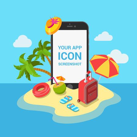 Travel mobile app mockup showcase flat 3d isometric template