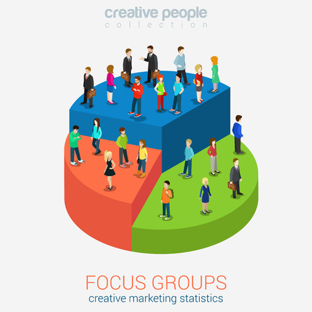 Social marketing focus groups statistics flat 3d web isometric infographic concept vector. Micro casual men women standing on different pieces of pie graphic chart. Creative people collection.