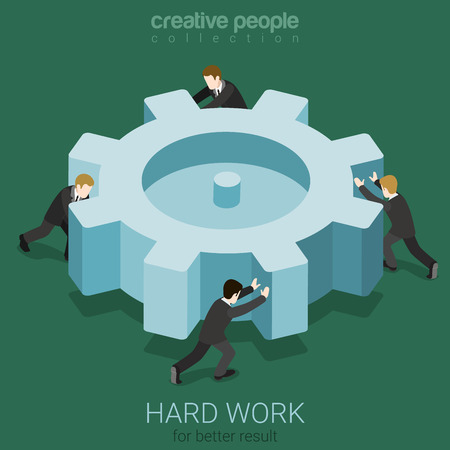 Micro business people spinning big cogwheel gear. Hard work team concept flat 3d web isometric infographic concept vector. Creative people collection.