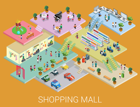 Illustration for Flat 3d isometric shopping mall concept vector. City shopping center, boutique gallery indoor interior floors with walking shoppers. Sale, entertainment, multi-use, retail store business concept. - Royalty Free Image