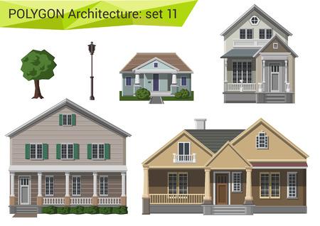 Illustration pour Polygonal style houses and buildings set. Countryside and suburb design elements. Polygon architecture collection. - image libre de droit