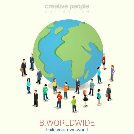 Foto für Be worldwide cosmopolitan globalization flat 3d web isometric infographic concept vector. Micro people standing around huge earth planet globe. Creative people collection. - Lizenzfreies Bild