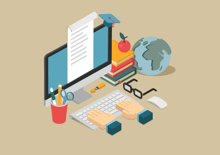 Flat 3d web isometric online education, e-learning, courses infographic concept vector. Arms on keyboard, apple, desktop computer, globe, books, flash drive, document, graduation cap.