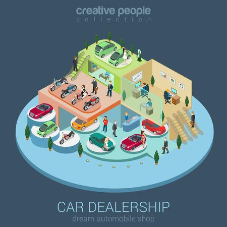 Flat 3d isometric car dealership sale concept vector. Sedan, electric car, convertible cabrio, luxury, motorbike indoor interior floors walking shoppers. Multi-use vehicle salon store business concept