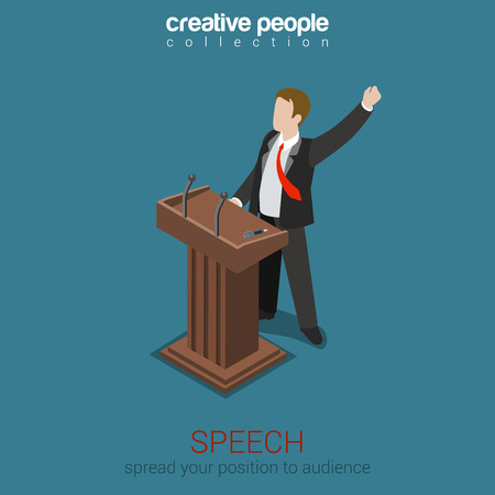 Tribune speech business politics concept flat 3d web isometric infographic vector. Emotional report presentation to audience voter electorate. Creative people collection.