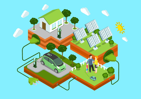 Ilustración de Flat 3d web isometric alternative eco green energy lifestyle infographic concept vector. Electric car sun batteries family house on green lawn cord connection. Ecology power consumption collection. - Imagen libre de derechos