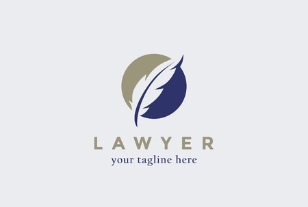 Lawyer Law firm  design Feather Quill symbol vector design template