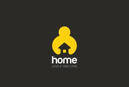 Photo pour Man holding hands House Logo design vector template negative space style. Repair household service Logotype icon. Love home security concept. - image libre de droit