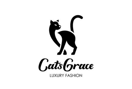 Illustration pour Cat Silhouette Logo design vector template negative space style. Home Pet Logotype Veterinary clinic icon. Grace Fashion concept. - image libre de droit