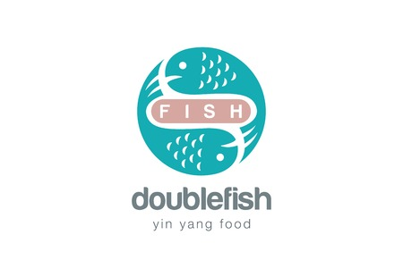 Fish Logo Design Vector Template Yin Yang Style Seafood Logotype Concept Icon Royalty Free Vector Graphics