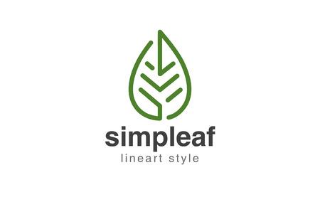 Illustration pour Abstract Leaf Logo design vector template linear style. - image libre de droit