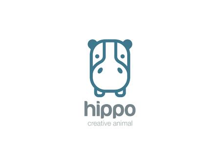 Ilustración de Funny Hippo Head Logo design vector template. Wild Safari Linear icon. Hippopotamus animal Logotype concept lineart style. Outlined illustration. - Imagen libre de derechos