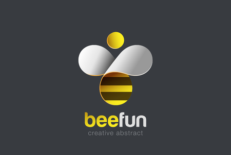 Illustration for Bee Logo design vector template. Hive icon. Creative character Logotype concept - Royalty Free Image