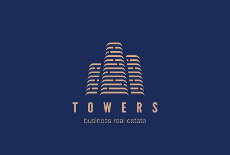 Real Estate Construction Logo design vector template. Skyscrapers silhouette city buildings. Commercial office property business center Financial Logotype. Corporate Finance Resort identity icon.