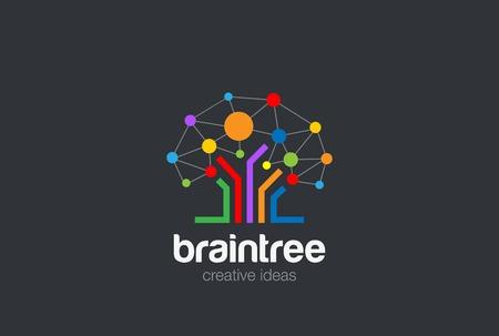 Illustration pour Brain Creative Ideas Logo design vector template. Social Network Tree concept Logotype. Brainstorming icon - image libre de droit