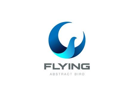 Ilustración de Soaring Flying Bird abstract Logo circle shape design vector template. Falcon Eagle Phoenix Logotype icon. - Imagen libre de derechos