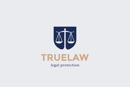 Scales Shield Law firm Logo design vector template Negative space. Judge Lawyer Attorney Advocate Legal Logotype concept icon