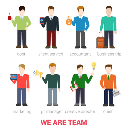 Flat style modern business people company team staff professionals icon web template infographics vector icon set. Doer client service accountant marketing PR manager creative director chief isolated.
