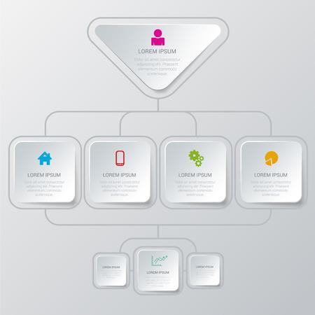 Illustration pour Simple stylish multicolor organization structure algorithm process style infographics mockup template. Infographic background concepts collection. - image libre de droit