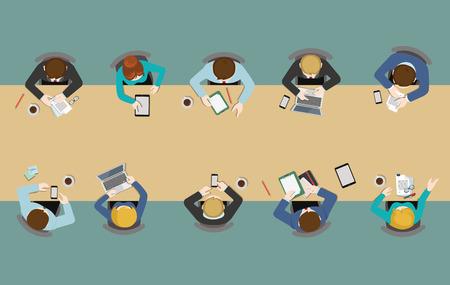 Ilustración de Office table top view business flat web infographic concept vector. Staff around table working tablet laptop empty background. Brainstorm report planning. Creative people collection. - Imagen libre de derechos