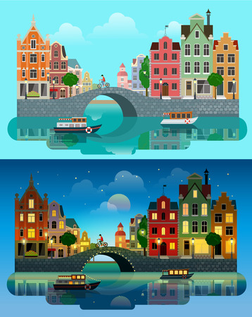 Flat cartoon multicolor colorful historic buildings city town set day and sunset night Amsterdam Holland, Venice Italy. River sea canal channel bridge boat embankment bicycle multi color street