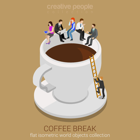 Illustration pour Coffee break concept flat 3d web isometric infographic vector. Business casual businesspeople sitting on huge coffee cup edge. Man climbing up ladder. Creative people collection. - image libre de droit