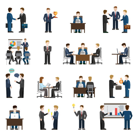 Illustration pour Flat style modern business situations businessmen people big icon set. Meeting success report training manager operator chat investment support discussion session idea workplace reception negotiations - image libre de droit