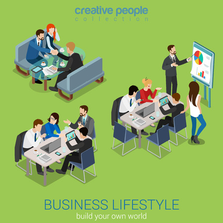 Illustration pour Flat 3d web isometric office meeting room report business collaboration teamwork brainstorming negotiation infographic concept interior vector set. Businessmen around table. Creative people collection - image libre de droit
