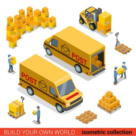 Ilustración de Flat 3d isometric postal service warehouse staff delivery van loading concept. Men loader forklift pallet package parcel manipulation. Build your own world collection. - Imagen libre de derechos