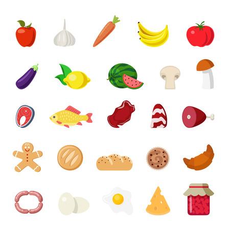Ilustración de Flat style modern food web app concept icon set. Vegetable fruit fish meat mushroom bakery eggs cheese grocery apple carrots bacon croissant banana lemon melon bread biscuit. Website icons collection. - Imagen libre de derechos