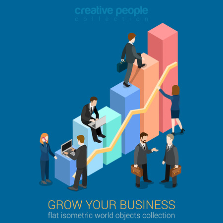 Growing Business infographics template concept flat 3d web isometric vector. Businessmen working to charts grow up. Creative people collection. Build your infographic.
