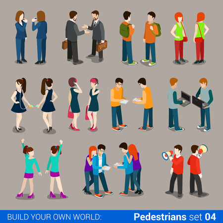 Flat 3d isometric high quality city pedestrians icon set. Business people, casual, teens, couples. Build your own world web infographic collection.
