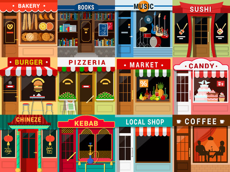 Illustration pour Flat style cafe restaurant bistro little tiny fancy cool shop big icon set. Bakery bookstore music sushi burger pizzeria food market candy Chinese kebab coffee. - image libre de droit