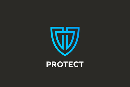 Illustration pour Security Agency Shield Logo design vector template linear style. Attorney Looped Lines Lawyer Legal Protection Logotype. Law concept icon. - image libre de droit