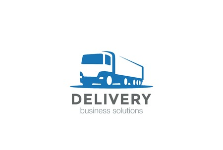 Illustration for Delivery Truck silhouette Logo design vector template Negative space style.Cargo automotive vehicle Logotype concept icon. - Royalty Free Image
