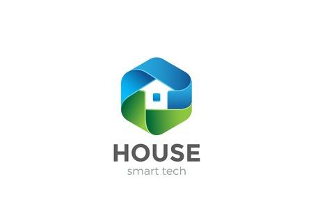 Illustration pour Eco House Logo abstract design vector template in Hexagon shape. Home services Household Ecology green smart Logotype concept icon - image libre de droit