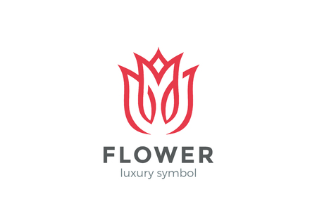 Illustration pour Luxury Fashion Flower Logo abstract Linear style. Looped Tulip Rose Lines Logotype design vector template - image libre de droit