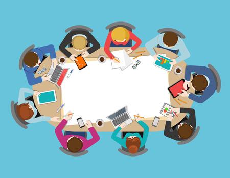Ilustración de Office table top view business meeting flat web infographic concept vector. Brainstorm report planning background. Creative people collection. - Imagen libre de derechos