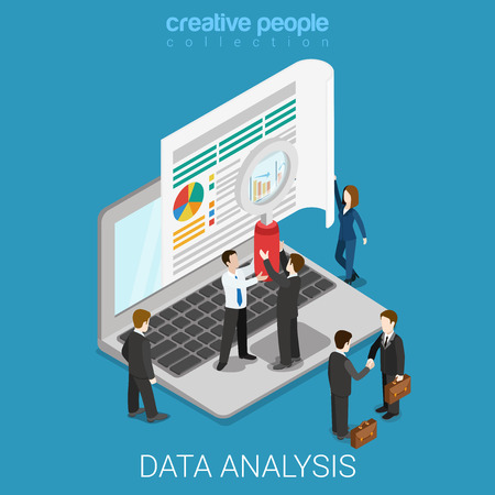 Flat 3d isometric online data analysis web infographics concept. Micro people hold magnifier before big laptop screen. Creative people collection.