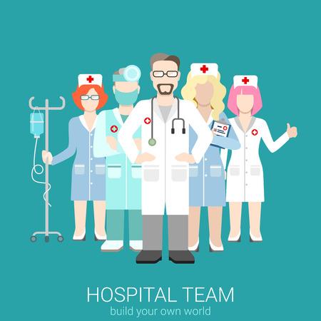 Vektor für Flat style modern web infographic hospital teamwork workforce team staff management concept. Doctor nurse surgeon nursing. Creative people young businessmen collection. - Lizenzfreies Bild