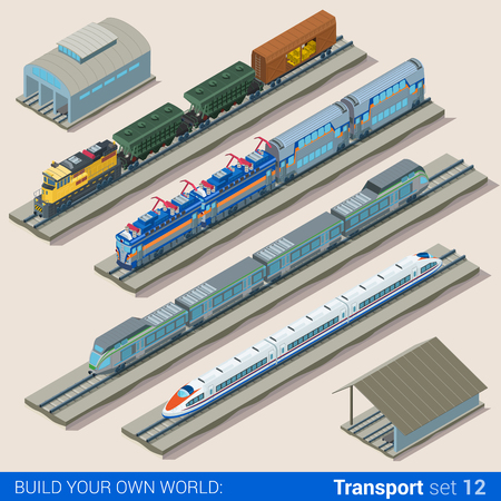 Flat 3d isometric style set of train depot web infographics vector illustration. Creative people website conceptual collection.