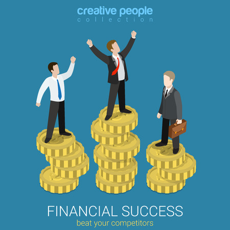 Ilustración de Financial success flat 3d web isometric infographic business concept vector illustration. Happy successful businessman winner on top coin heap rising hands and competitors. Creative people collection. - Imagen libre de derechos