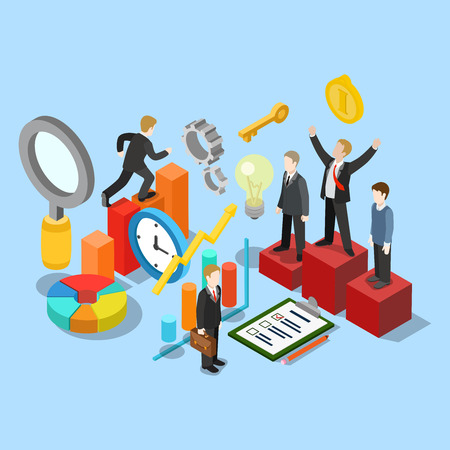 Flat 3d isometric business success movement concept web infographics vector illustration. Winner pedestal runner graphic checklist businessman research magnifier clock. Creative people collection.
